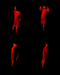 Laurana Wong - Creep Dance - One by one, four of her, in orange freezeframe, gyrate in the darkness